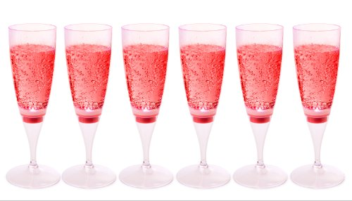 LED Waterproof Light-Up Champagne Flute Cups - Red LED Cup IVLV11FG01RED