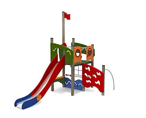 Kletterturm AHOI mit Rutsche, Kletternetz und Kletterstange - für öffentliche Spielplätze & Einrichtungen