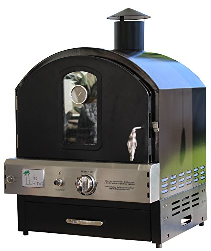 Pacific Living Outdoor Build-in or Counter Top Large Capacity Gas Oven with Pizza Stone and Smoker Box, Black Powder Coat (Oven Top Smoker compare prices)