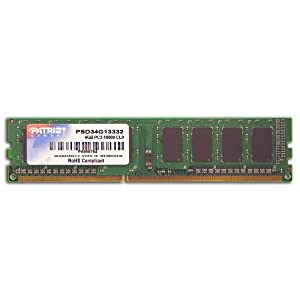 Patriot Signature 4 GB PC3-10600 (1333 MHz) DDR3 Desktop Memory $17.99