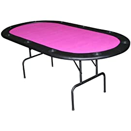 Full Size Texas Holdem Hot Pink Felt Poker Table - 83 X 44 Inches