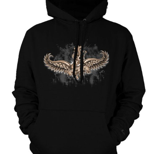 Crowned Love Mens Sweatshirt, Winged Heart And Crown Old School Tattoo Style Design Mens Hooded Pullover Sweater, Small, Red