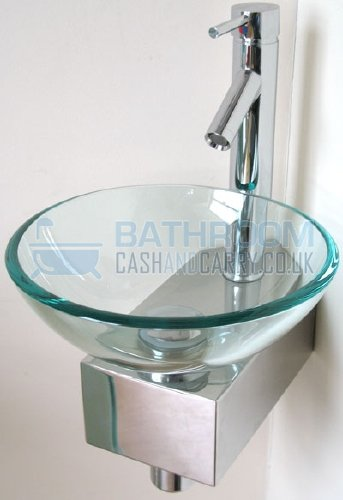 Cloakroom sink round glass wash basin small compact space mini clear corner tap ebay - Glass cloakroom basin ...