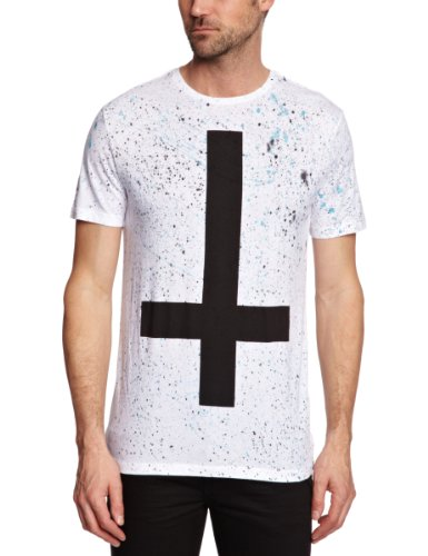 Sinstar Paint Cross Crew Printed Men's T-Shirt Electric Blue X-Large