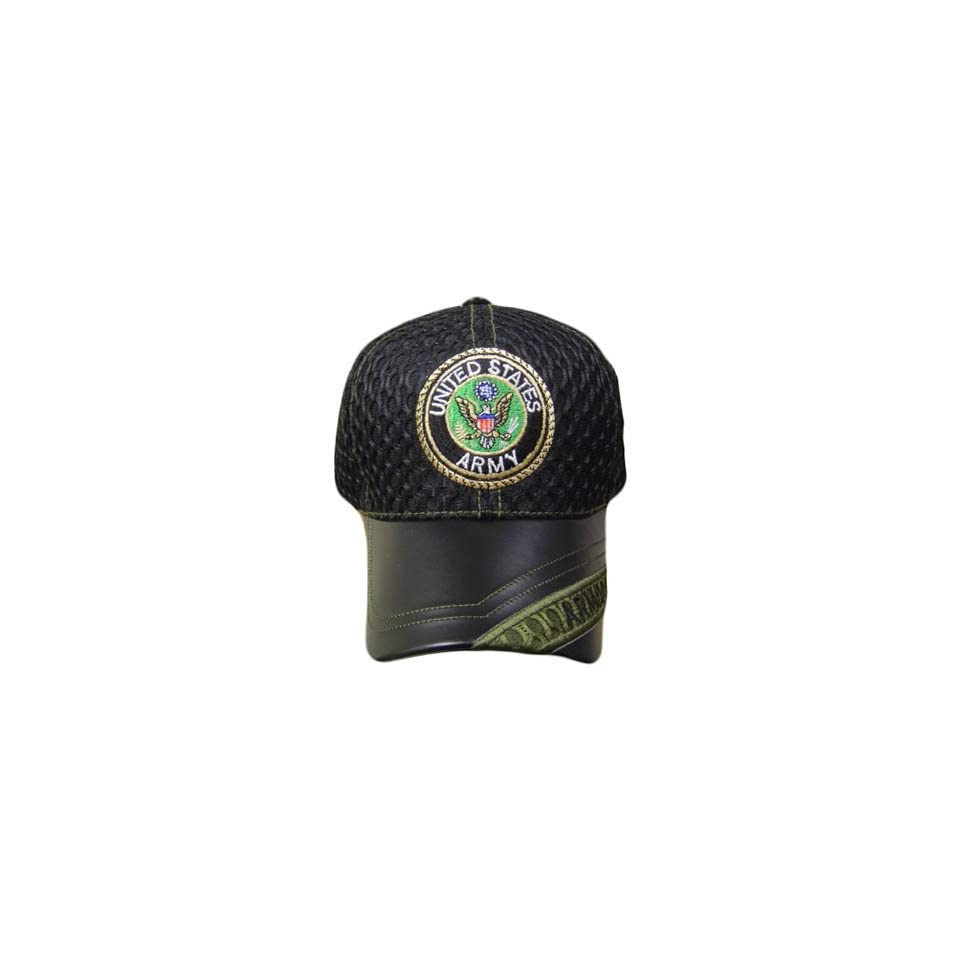 US ARMY SEAL BLACK MESH LEATHER BRIM CAP HAT ADJ GREEN