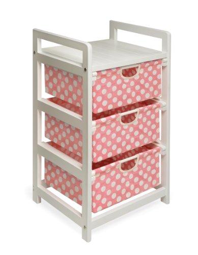 Badger Basket Lightweight Three Drawer Hamper/Storage Unit, Pink Dot (Pink Storage compare prices)
