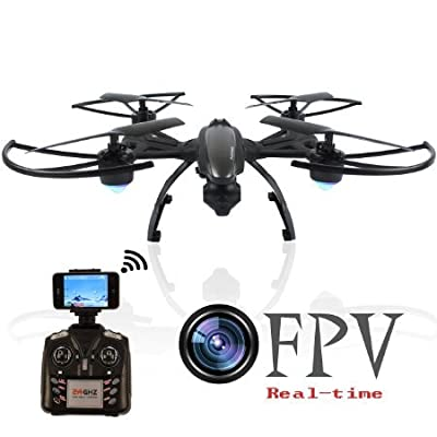 AMOSTING, RC Drone with Camera FPV Quadcopter with 0.3MP HD Camera Real Time Transmission Wifi Phone Control Altitude Hold One Key Return Headless Mode LED Light 3D Flip 6 Axis Gyro - Black