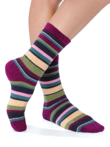 Cashmere Blend Striped Socks Crew 7 Colors Available Womens Soft and Warm Perfect Gift Item Color:: Raspberry