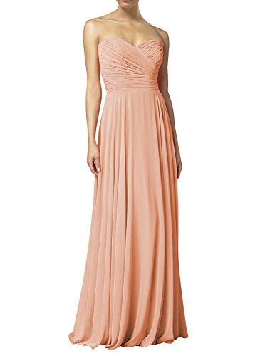Huafeiwude Women's Sweetheart Chiffon Long Evening Dress Bridesmaid Prom Dress Skin Pink US 2