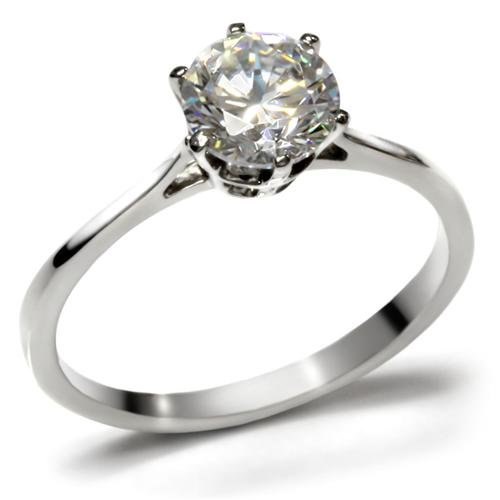 316L Shiny Stainless Steel Engagement Ring with Diamond CZ Stones - Size 6