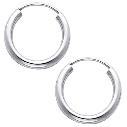 14K White Gold 2mm Thickness High Polished Endless Hoop Earrings (0.6