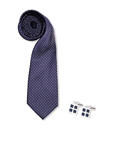 SILVIO SILVANI Pack Corbata Azul Marino Con Topos Celeste + Gemelos Con Esmalte Azul Marino