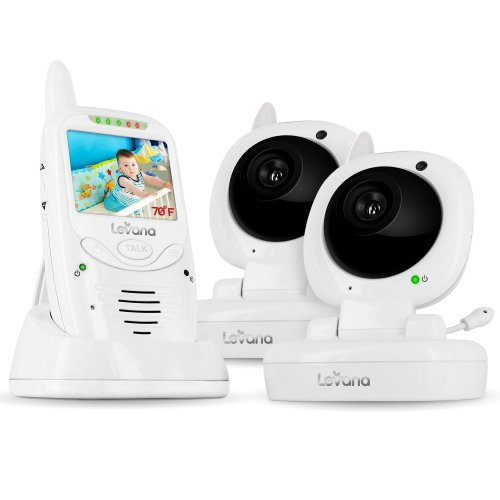 Levana Jena Digital Baby Video Monitor With 8 Hour Rechargeable Battery And Talk To Baby Intercom (2 Baby Cameras Included)