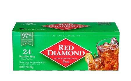 Red Diamond Gourmet Decaffeinated Tea 24Ct Quart Size Tea Bags 6-Pack