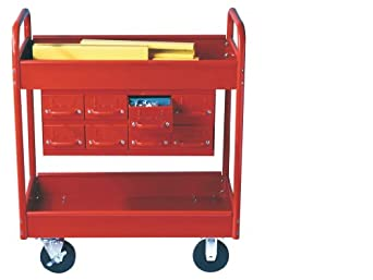 "Equipto 145-8-RD Combination Truck with 2 Trays, 500lbs Capacity, 11"" Drawers, 30"" L x 16"" W x 36"" H, Textured Red"