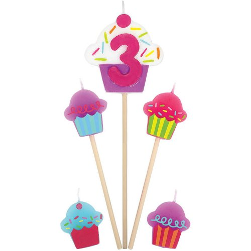 """3"" Birthday Cupcake Pick Candles"