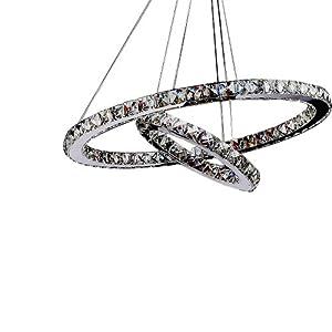 LightInTheBox Pendant Light Luxury Modern LED Crystal Living Two Rings, Modern Home Ceiling Light Fixture Flush Mount, Pendant Light Chandeliers Lighting from LightInTheBox