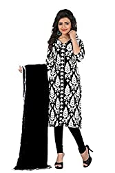 Kavya Trend Women's American Crepe Dress Material (Black and White)