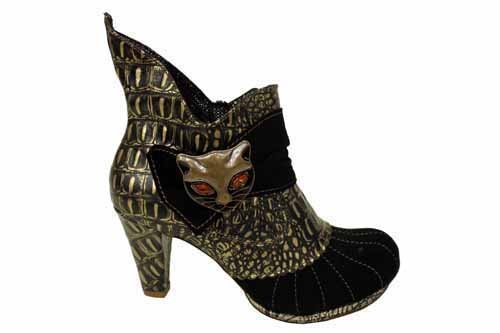 L1272A Irregular Choice Miaow Womens Black High Heel Shoes Boots Size UK 8