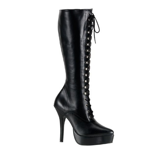 INDULGE-2020 5 Inch Sexy Knee High Boot Lace-Up Low Platform Boots Black Leather