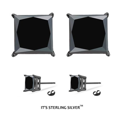 925 Sterling Silver 1.00 Carat Princess Cut BLACK RHODIUM And BLACK CZ Diamond Cubic Zirconia Studs. .50 Carat Each Stone