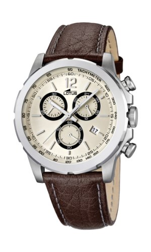 Lotus Men's Quartz Watch with Beige Dial Chronograph Display and Brown Leather Strap 15856/4