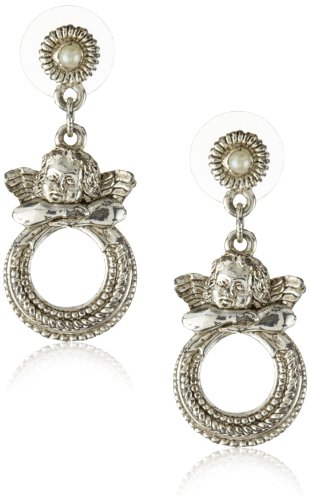 The Vatican Library Collection Angel Hoop Drop Earrings