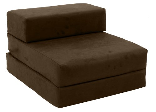 Gilda ® STANDARD CHAIRBED - BROWN FAUX SUEDE Single Chair Bed / Futon - more fabric colours & types available instore