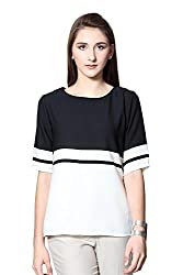Van Heusen Womens Body Blouse Shirt (VWTS515D01237Short Sleeve_White With Black_S)