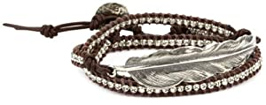 M.Cohen Handmade Designs Triple Wrap Bracelet with Sterling Silver Feather Charm