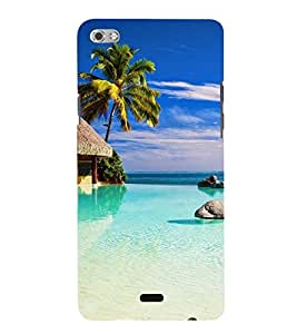 Printvisa Beautiful Seaside With Palm Tree Back Case Cover for Micromax Canvas Sliver 5 Q450::Micromax Canvas Silver 5