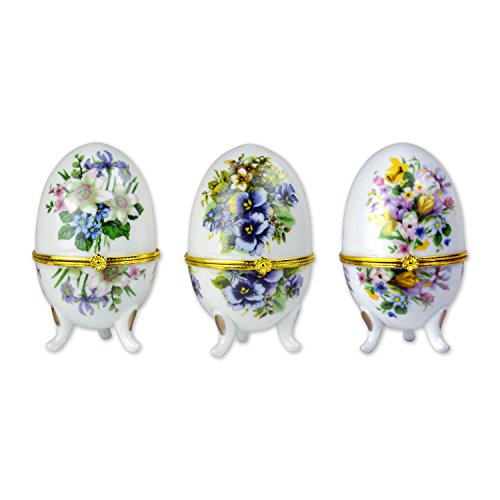 "TransSino Treasures 3.75"" Porcelain Hinged Egg Boxes of Faberge Style with Bouquet Design Set of 3"