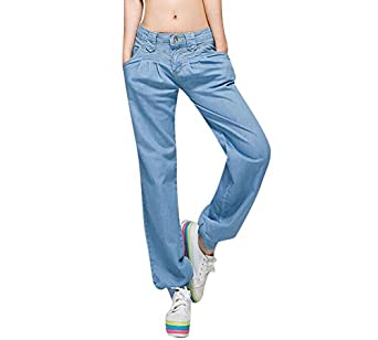 ghope jean femme bleu grande taille minces sarouel femmes de jeans baggy cor en pantalon cool. Black Bedroom Furniture Sets. Home Design Ideas