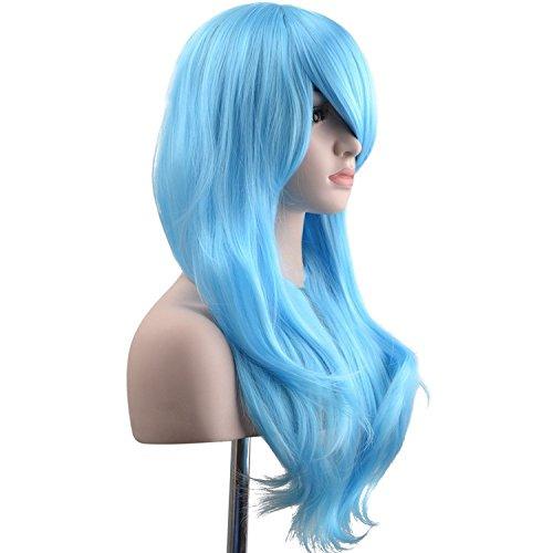 """Ambielly Wig 28""""/70 centimetri lunga parrucca riccia Capelli mossi Womens Cosplay (Azzurro)"""