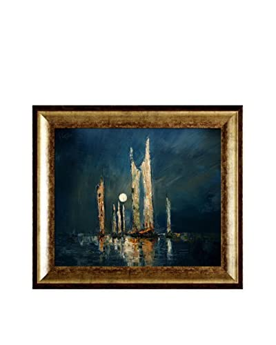 "Justyna Kopania ""Night (Fisherman)"" Framed Canvas Print"