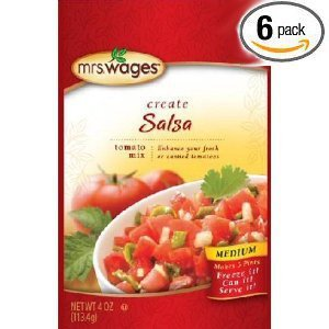 Mrs. Wages Medium Salsa Mix, 4-Ounce Packages (Pack of 6)
