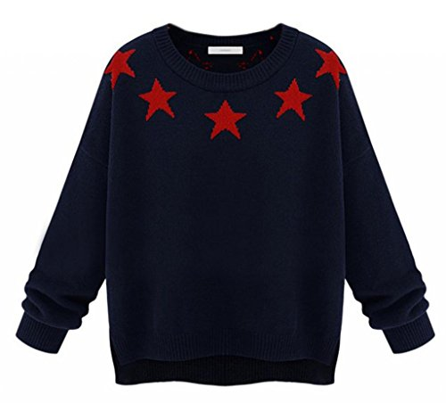 Vwhite Women'S Big Girls Winter Star Print Irregular Knit Pullover Sweaters Tops Navy back-219713