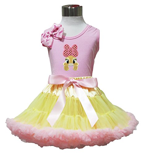 Easter Bow Bunny Pink Top Shirt Yellow Pink Baby Girl Pettiskirt Outfit Set 1-8y