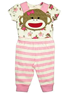 Pink Sock Monkey Baby Girl Outfit and Bib Set by Baby Starters