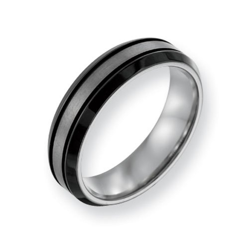 Titanium Two-tone Grooved 6mm Brushed and Polished Comfort Fit Wedding Band Ring (SIZE 12 )