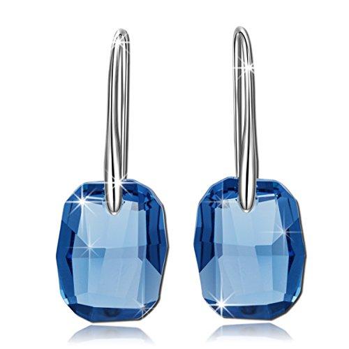 """Pauline & Morgen """"Aurora"""" Orecchini Donna-Cristallo Swarovski Elements Blu-Colore Oro Bianco"""