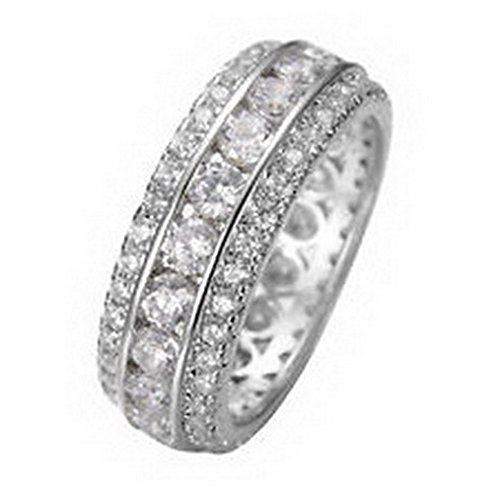 Jacob alex ring Size6 White Sapphire Wedding Engagement Band Ring 10kt White Gold Filled