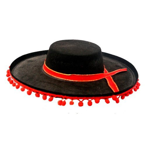Black and Red Matador Spanish Bull Fighting Costume Hat