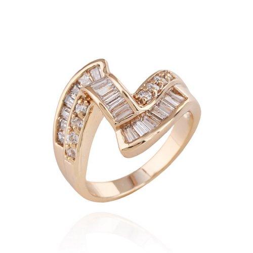 C-Princessリング 指輪 18Kゴールドメッキ コーティング ラインストーン レディース  ミズ 女性 アクセサリー ジュエリー ウェディング エンゲージリング スタイリッシュ (18)
