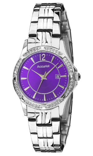 Accurist Women's Quartz Watch with Purple Dial Analogue Display and Silver Stainless Steel Bracelet LB1537V