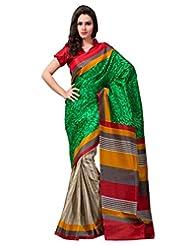 Inddus Exclusive Women Beautiful Green Printed Khadi Silk Saree - B00REE3ST0