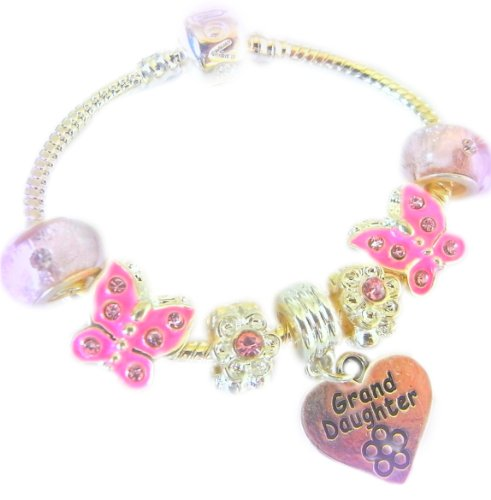 Treasured Charms & Beads Granddaughter Pink Sparkle Butterfly Childrens Charm Bracelet