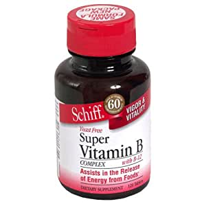 Schiff Super Vitamin B Complex with B-12 Tablets, 120-Count