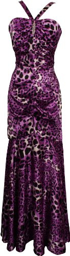Animal Print Satin Halter Gown with Crystal Pin Junior Plus
