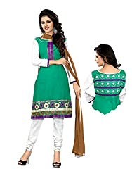 Idha Green Semi-Stitched Solid Salwar Suit For Women